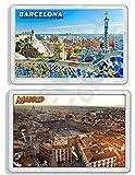 AWS par de imanes de PVC Duro Barcelona y Madrid Barcelona España Spain 2imanes Souvenir imán Fridge Magnet imán de nevera de plástico dura con imagen fotográfica recordatorio Ciudad