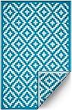 FH recyceltem Kunststoff-Home Fußmatte/Teppich–wendbar–Wetter- und UV-beständig–Azteken - Casual 5 ft x 8 ft Teal and White