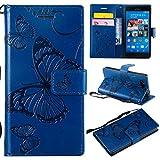 Hozor Sony Xperia Z3 Compact Handyhülle, Retro Großer Schmetterling Muster PU Kunstleder Ledercase Brieftasche Kartenfächer Schutzhülle mit Standfunktion Magnetverschluss Flip Cover Tasche, Blau
