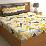 Dreamscape Twill 100% Cotton Double bedsheet with 2 Pillow Covers Set, 180TC Geometric Yellow bedsheets for Double Bed Cotton