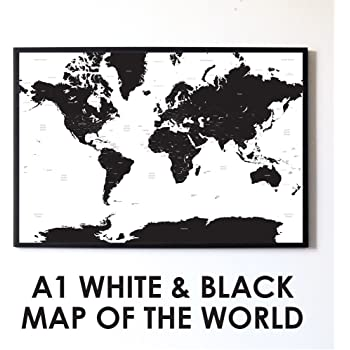 Black and white world map unique design poster print traveler large a1 white black map of the world travel poster gumiabroncs Gallery