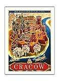 Pacifica Island Art Cracow-Polonia de la Vieja Ciudad Royal-Vintage Railroad Travel Poster por Witold chomicz c.1935-Fine Art Print, 12' x 16' Premium Giclée