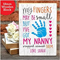 PERSONALISED Mothers Day Gifts Nanny Nan Nana Nanna Mothers Day Wooden Blocks - PERSONALISED with ANY NAME and ANY RECIPIENT - Black or White Framed A5, A4, A3 Prints or 18mm Wooden Blocks