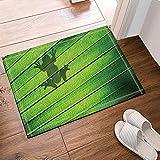 Contorno de la sombra de una rana sentada en una alfombra de baño de hoja de palma, alfombrillas de baño antideslizantes en el piso Alfombrilla exterior para puerta de entrada, alfombra de baño de 40x60 cm