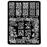 J : Mingfa.y Nail Art Stickers-Christmas Pattern DIY Nail Art Image Stamp Stamping Plates Manicure Template (J)