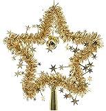 Kaemingk Christbaumspitze Stern Lametta 24 cm Rot Gold Silber Weihnachtsbaum Spitze, Farbe:Gold