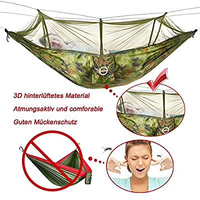 AKM Hängematte Outdoor Camping aus Fallschirmseide mit Moskitonetz Ultra-Light Reise-Hängematte 280 x 150 cm, Belastbarkeit bis 200 kg von AKM - Gartenmöbel von Du und Dein Garten