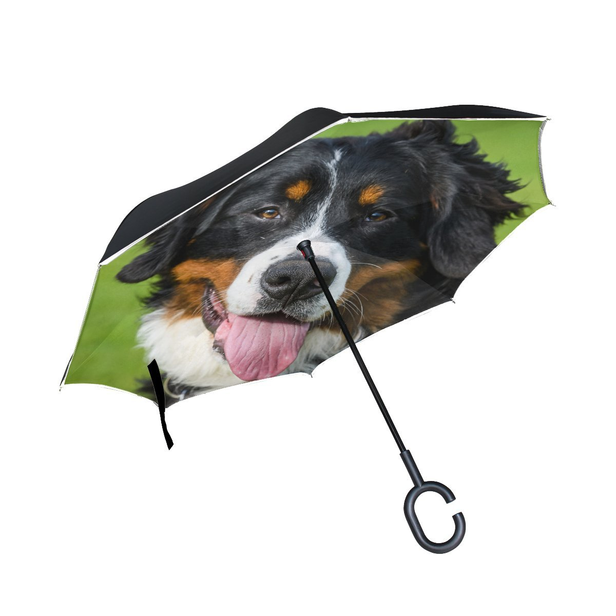 JOCHUAN Animal Dog Affenpinscher Blackandwhite Mix Fluffy Puppy Adorable Pet Inverted Umbrella Large Double Layer Outdoor Rain Sun Car Reversible Umbrella