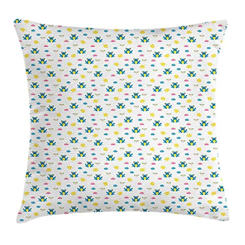 GONIESA Frogs Throw Pillow Cushion Cover, Adorable Blue Frogs Among The Pink Lotus Flowers Dragonflies and Leaves, Decorative Square Accent Pillow Case, 18 X 18 Inches, Blue Pink and Yellow