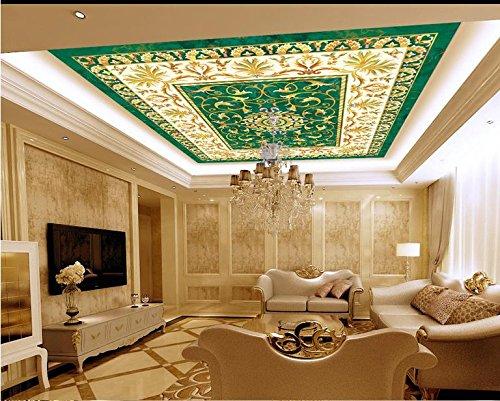 LWCX Custom 3D Deckenmalereien Hintergrundbild Das Muster Der Keramischen Fliese 3D Wallpaper Für Decke Hintergrundbilder Für Wohnzimmer 3D-Decke 352X250CM -