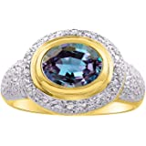 RYLOS Anillo clásico para mujer con piedras preciosas ovaladas y diamantes brillantes auténticos en plata chapada en oro amar
