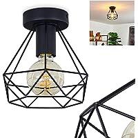 Plafonnier Denno en métal noir, élégante lampe vintage dont l'abat-jour grillagé crée un jeu de lumière au plafond, pour…