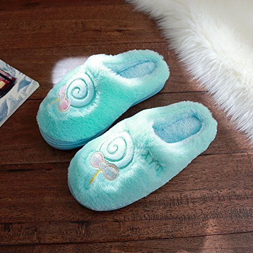 DogHaccd pantofole,Cartoon carino inverno pantofole di cotone felpato uomini e antiscivolo indoor home spesso coppie femmina soggiorno Blu cielo2