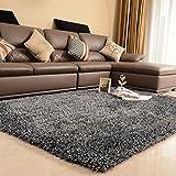 SESO UK-CAR Nordic Modernen Teppich Weichen Bequemen Rutschfeste Große Polyester Teppich für Schlafzimmer Wohnzimmer Haushalt Dekoration Dicke-6 cm (Farbe : Black and Gray, Größe : 200x300cm)