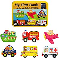 MengTing Puzzle Games 6-In-A-Box!My First Travel Vehicles Puzzle Set Wooden Jigsaw Puzzles for Toddlers Gift