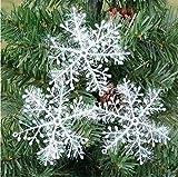 10 Paquetes Con 30 Piezas De Copos Nieves Para Árbol De Navidad Colgantes Adornos 11cm Blanco