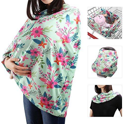 Zooawa Stilltuch Stillschal elastic Mamascarf Baby Krankenpflege Abdeckung Milkscarf zum Stillen Abdeckung, Blaue & Rote Blumen