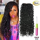 Beauty Star (6Packs)18inch Curly Faux Locs Soft Hair Deep Faux Locs Twist Braids Goddess Locs Crochet Braiding Hair Braids Mambo Hair Extension 24Roots/Pack