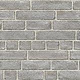 nuwallpaper NU2236Brick Fassade schälen und Stick Tapete–Grau