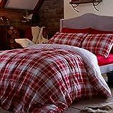 Catherine Lansfield Set con copripiumino e federe in cotone per letto matrimoniale, motivo: tartan, colore: rosso