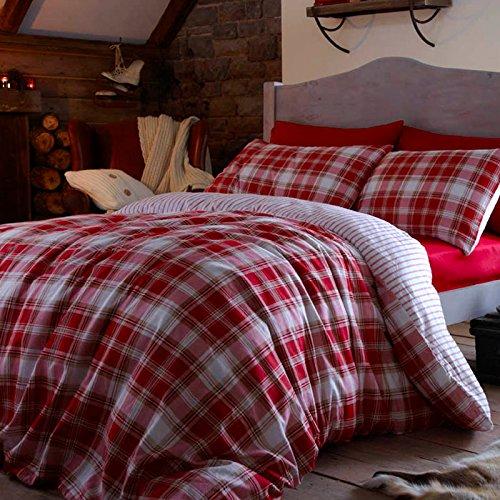 Catherine Lansfield - Set con copripiumino e federe in cotone per letto matrimoniale, motivo: tartan, colore: rosso