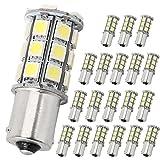20 Stück LED Bremslicht 12V 1156 Weiß 360 Abstrahlwinkel Auto Lampe 27-SMD 5050 superhelle Ersatzbirne für Innenbeleuchtung Bremslichter Rücklichter Blinker