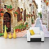 Weaeo Benutzerdefinierte 3D Wandbild Tapete Für Wand Pastoralen Stadt Straße Altes Haus Mit Blumen Wandmalereien Wohnzimmer Tv Sofa Hintergrund Wandabdeckung-120X100Cm