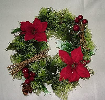 "10"" inch Artificial Poinsettia & Holly Christmas Wreath for indoors and outdoors"