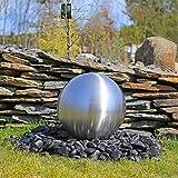 Edelstahlkugel 38cm für Springbrunnen rostfreie Kugel aus matt gebürstetem Edelstahl DIY Gartenbrunnen Wasserspiel Kugelbrunnen für draußen