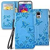 Slynmax Schmetterling Glitzer Flip Tasche Schutzhülle für Samsung Galaxy S5 / S5 Neo Hülle Walle Brieftasche Lederhülle Slim Handyhülle Handytasche Stand Karte Halter Magnet Magnetverschluss (Blau)