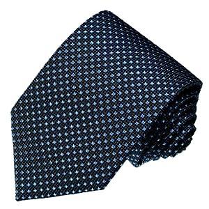 LORENZO CANA - Luxus Krawatte aus 100% Seide - Blau Taubenblau Punkte Silk Schlips - 84190