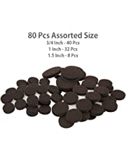 Store2508® Soft Touch Self-Stick Furniture Felt Pads Value Pack for Hard Surfaces (80 Piece) - Brown, Round, Various Sizes.