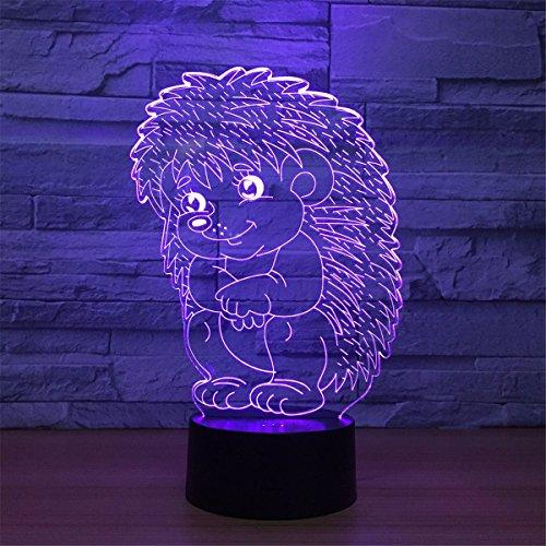 3D El erizo lámpara luz nocturna óptico Illusions 7 Cambio de color acrílico Tocar Tabla Lámpara de escritorio para niños Dormitorio Regalos de Navidad, Cumpleaños