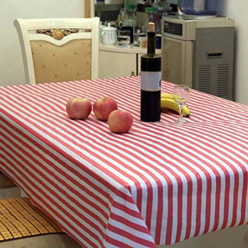 Baumwolle Outdoor-tisch (dikewang leicht zu reinigen Nützliche gestreift Rechteck Wasserdicht, PEVA Tischdecke Tisch Husse für Bankett Tisch Hochzeit Party Home Dekoration, D)