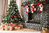 Photographie de Noël 7x5ft Backdrop Xmas Salon Meubles Arbre Presents Brique Foyer Rouge Stocking Boule de Noël Bois Photographie Plancher Backdrop pour bébé Enfants Party LILY2154