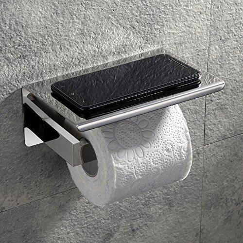 Velimax Selbstklebend Toilettenpapierhalter mit Ablage SUS304Edelstahl Badezimmer labotory Toilettenpapier Rolle mit Halter Spender Wandhalterung Modern Poliert -