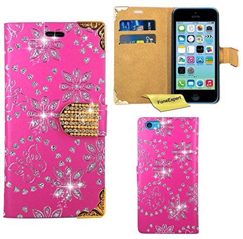 iPhone 5C Housse Coque - FoneExpert® Etui Housse Coque Bling Diamant en Cuir Portefeuille Wallet Case Cover pour iPhone 5C (Rose) Rose