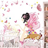 Fototapete Kinderzimmer 274,5 x 254 cm Fee Blumen Schmetterlinge Mädchen Rosa Kinder inklusiv Kleister livingdecoration