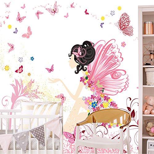 *Fototapete Kinderzimmer 274,5 x 254 cm Fee Blumen Schmetterlinge Mädchen Rosa Kinder inklusiv Kleister livingdecoration*