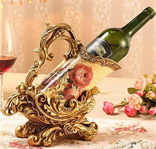 YANFEI Weinregal Harz-Art- und Weisekreativer Art-Wein-Zahnstange Europäischer klassischer Art-Multifunktionsanzeigen-Regale-Flasche Ihres Lieblingsweins , golden (Goldene Treppe-bücher)