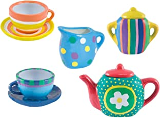 Oasis Webby DIY Kitchen Ceramic Tea Set for Kids - 9 Pieces