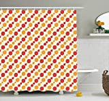 MSGDF Kids Shower Curtain, Diagonal Chain Pattern with Big and Small Dots on Lines in Shabby Colors, Fabric Bathroom Decor Set with Hooks, 60 X 72inch, Scarlet Marigold Cream