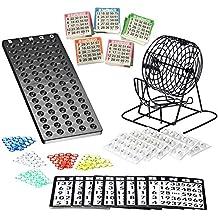 Spiele BINGO-SPIEL Bingospiel Lotto viel Zubehör 15 aus 90 Holz Metallkorb Tombola NEU