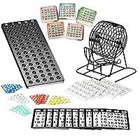 Bingo-Spiel-Set-mit-Bingotrommel-aus-Metall-75-Kugeln-500-Bingokarten-150-Bingochips-Ergebnisbrett