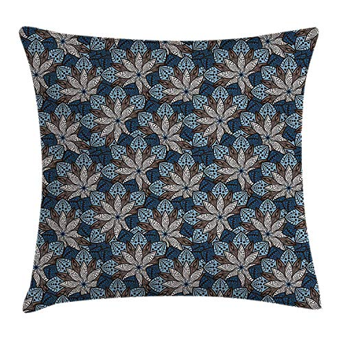 K0k2t0 Ethnic Throw Pillow Cushion Cover by, Indian Leaf Pattern with Mandala Effects Lotus Flower Eastern Artwork, Decorative Square Accent Pillow Case, 18 X 18 Inches, Petrol Blue Umber Cream
