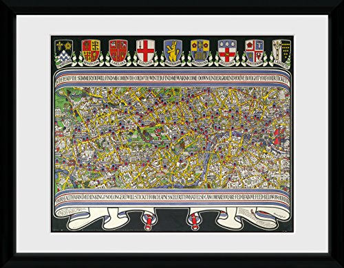GB Eye Ltd Carte de Transport for London, 3, encadrée, 30 x 40 cm, Bois, différents, 52 x 44 x 3 cm