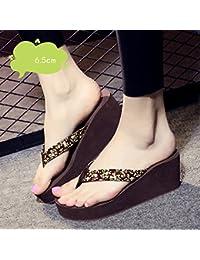FEI Chanclas 6.5cm Zapatos de tacón Alto de Verano Femenino Antideslizante Zapatos  Sandalias (Negro 724e35e5b1c4