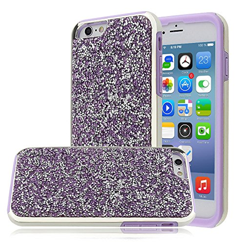 """Soft TPU Silicone Cover pour Apple iPhone 6/6s 4.7"""", CLTPY 2in1 Jelly Bling Diamant Série Case avec Plaquage Bord Incurvée Résistant Aux Rayures Couverture pour iPhone 6,iPhone 6s + 1x Stylet - Champa Violet"""