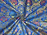 TheFabricFactory Seide Brokat Stoff Royal Blau Grün x