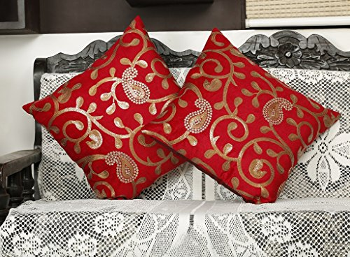 Embroidered Pejali Sequence Velvet Red Cushion Cover (Pack of 2) By Dekor World